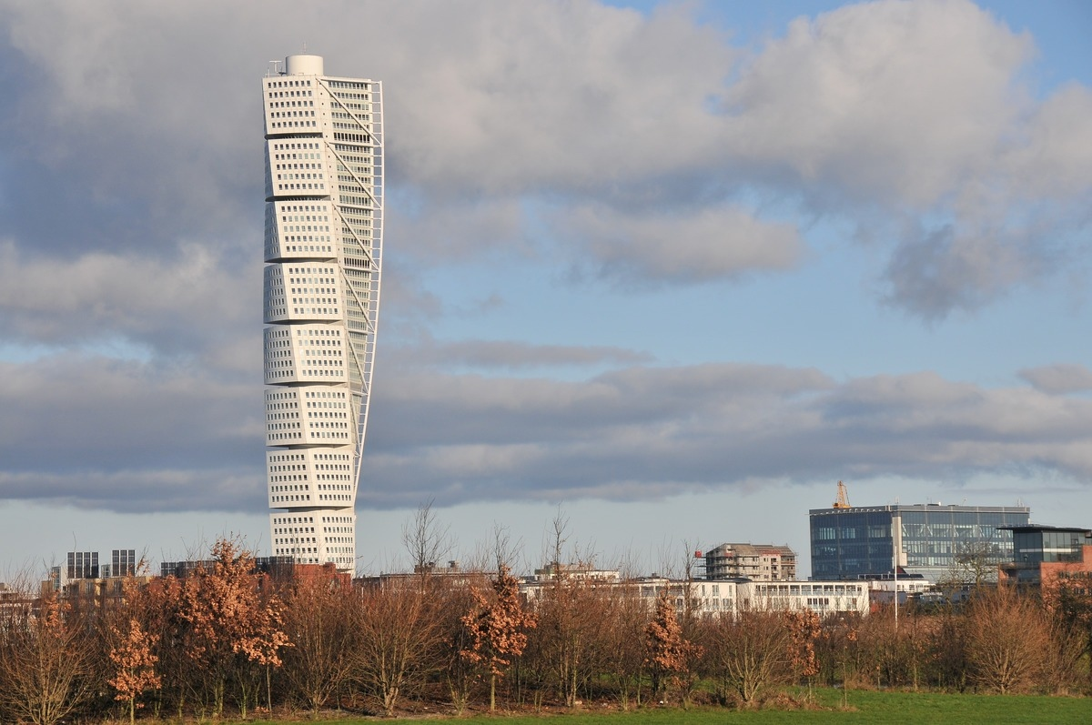 The turning torso building set against the blue sky in Malmo City, Sweden