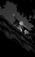 church steeple against the sky: a shot of the church steeple against the sky. The Saint Mary's basilica in MInneapolis
