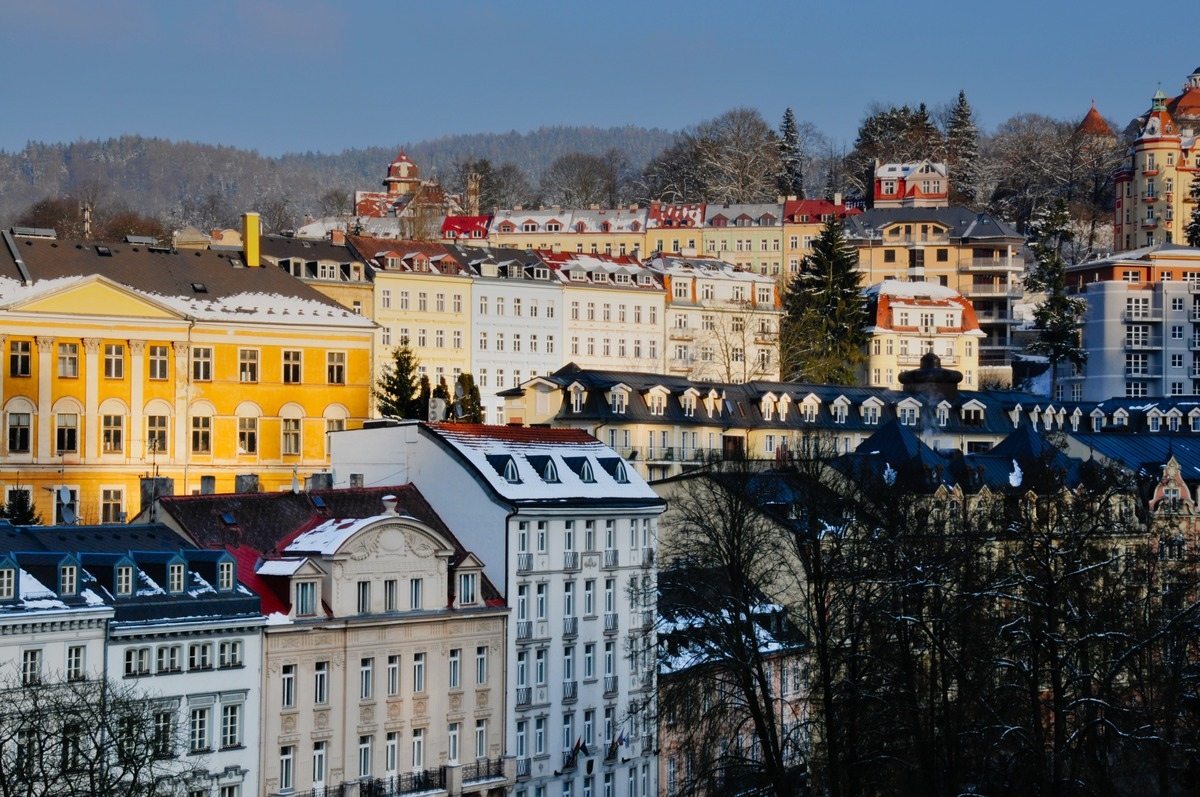 the colorful building of Karlovy Vary in Czech Republic