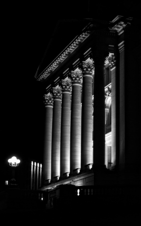 dimly lit pillars: dimly lit pillars at night at the statehouse
