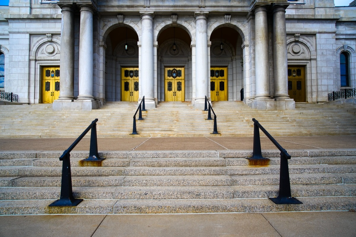 stairway and golden doors to the building