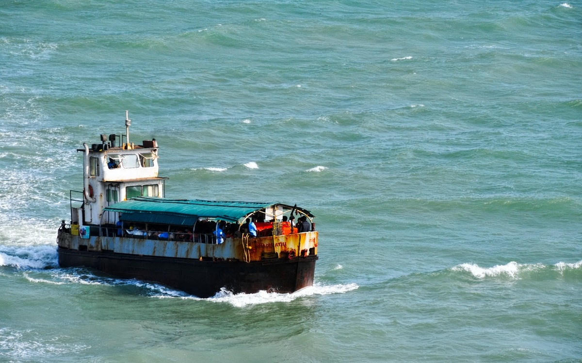 boat at sea in kanyakumari in india