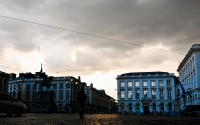 the town square with the rain clouds before the storm