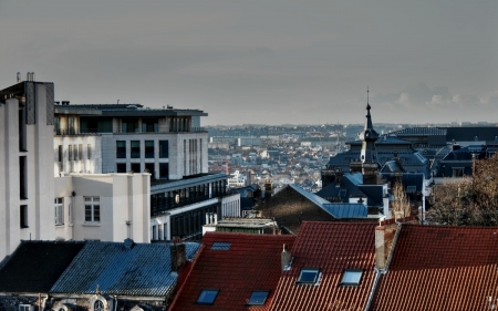 skyline of brussels with red and blue roofs and modern building